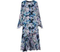 Woman Printed Chiffon-paneled Silk-crepe Midi Dress Black