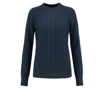 Leon Cable-knit Wool And Cashmere-blend Sweater Navy