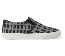 Beth Leather-trimmed Jacquard Slip-on Sneakers Grau