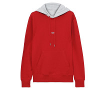 Woman Taxi Printed French Cotton-terry Hoodie Red