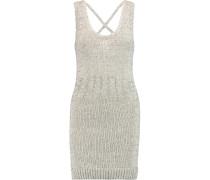 Reina Metallic Knitted Cotton-blend Mini Dress Silber