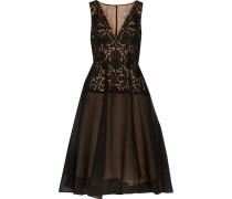 Guipure Lace-paneled And Silk-blend Cloqué Midi Dress Schwarz