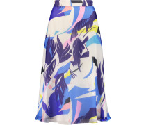 Floral-print Silk-crepe Midi Skirt Mehrfarbig