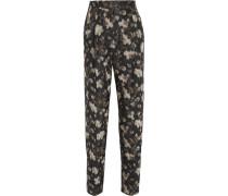 Floral-print Silk Straight-leg Pants Mehrfarbig