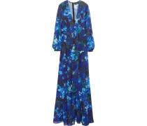 Floral-print Chiffon Dress Blau