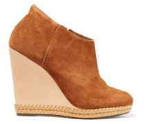 Belua suede and leather wedge ankle boots