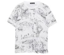 Gerafftes T-shirt aus Baumwoll-jersey mit Print und Verzierung