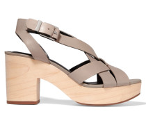 Jessica Leather And Wood Sandals Taupe