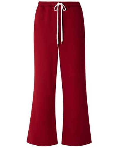 Woman French Cotton-terry Wide-leg Track Pants Claret