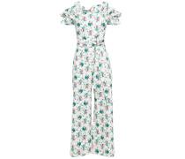 Woman Carnation Cold-shoulder Floral-print Cotton And Linen-blend Jumpsuit White