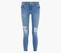 Woman Emma Distressed Low-rise Skinny Jeans Light Denim