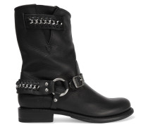 Jenna Chain-embellished Leather Ankle Boots Schwarz