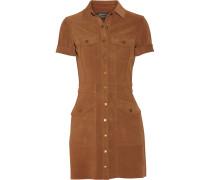 The Trucker Suede Mini Shirt Dress Braun
