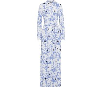 Amina Printed Crepe Maxi Shirt Dress