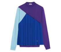 Pleated silk-paneled wool, cashmere and silk-blend fleece top