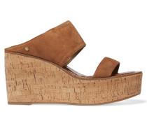 Suede Wedge Sandals Braun