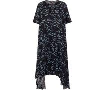 Naomi Asymmetrisches Kleid aus Plissiertem Crêpe De Chine mit Print