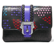 Sylvie Laser-cut And Woven Leather Clutch Schwarz