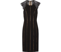 Evette Lace-paneled Ponte Dress Schwarz