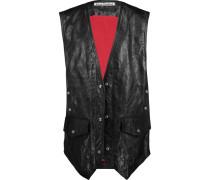 Carletta Crinkled-leather Vest Schwarz