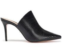 Woman Croc-effect Leather Mules Black