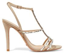 Darcy Embellished Suede Sandals Beige