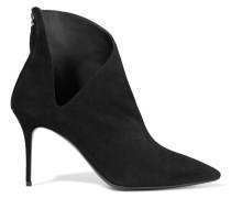 Cutout Suede Ankle Boots Schwarz