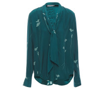 Fayanna Tie-neck Floral-print Washed-silk Blouse
