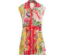 Florida pleated printed voile mini dress