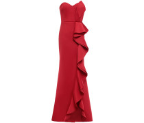 Strapless Ruffled Scuba Gown