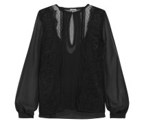 The Lace Widow Paneled Lace-trimmed Silk-chiffon Blouse Schwarz
