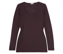 Chain-trimmed wool-jersey top