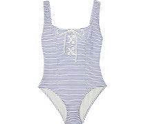 The Sophia Lace-up Striped Stretch-seersucker Swimsuit