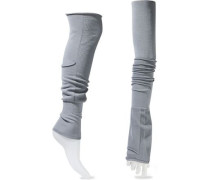 Ribbed Cotton-blend Arm And Leg Warmers Gray