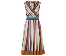 Wrap-effect Striped Metallic Crochet-knit Midi Dress