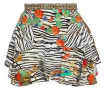 Drapierte Shorts aus Crêpe De Chine aus Seide mit Print und Kristallverzierung