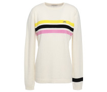 Embroidered Striped Cashmere Sweater