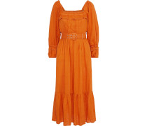Belted Pleated Gauze Midi Dress