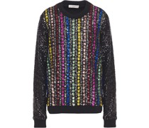 Pullover aus Stretch-strick mit Verzierung