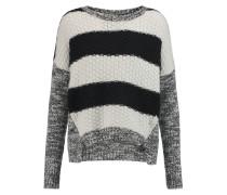 Striped Textured-knit Cashmere Sweater Grau