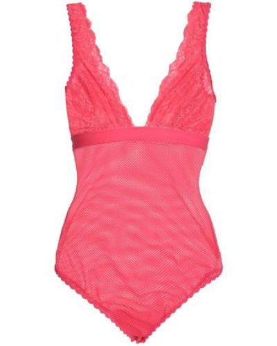 Lace-paneled Mesh Bodysuit Coral