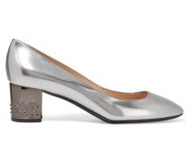 Metallic Patent-leather Pumps Silber