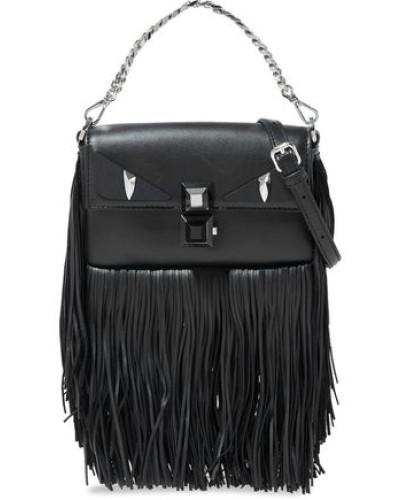 Baguette Studded Fringed Leather Shoulder Bag Black Size --