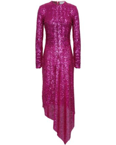Sequined Mesh Midi Dress Magenta