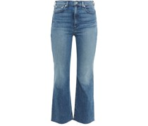 Cropped Frayed High-rise Bootcut Jeans