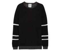 Paneled Metallic Knitted Sweater Schwarz