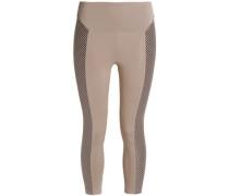 Mesh-paneled stretch leggings
