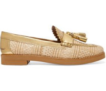 Careen metallic leather-paneled woven loafers