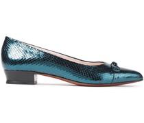 Bow-embellished Metallic Lizard-effect Leather Flats