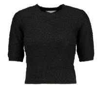 Cropped Knitted Sweater Schwarz